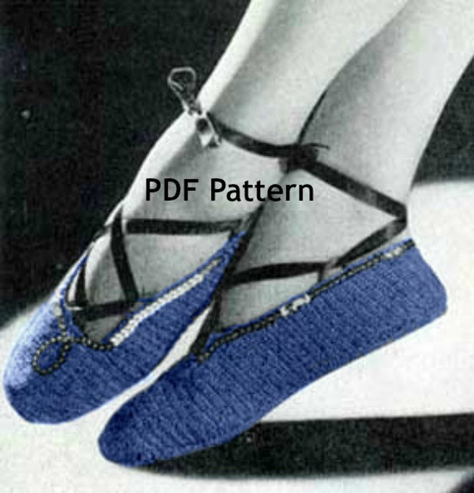 ballet slipper crochet pattern, vintage shoe pattern, pdf instant, digital download