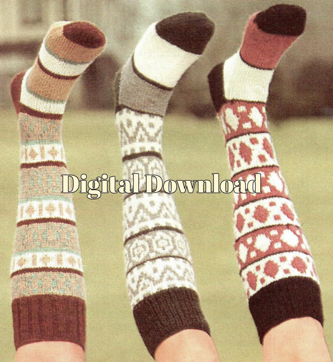 PDF Instant Vintage Knitting Pattern Sock Knitting Digital Download Fair Isle Knit Knee Socks Pattern 3 Styles