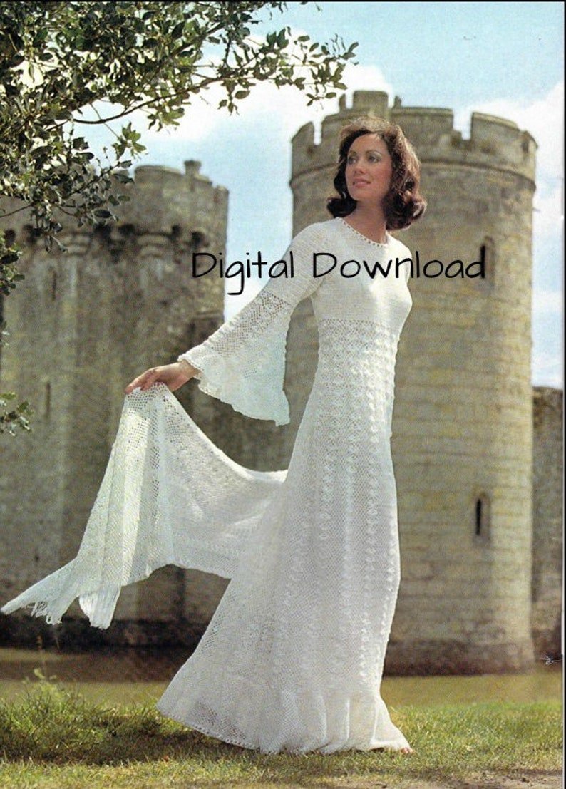 Crochet Wedding Dress Pattern.Crochet Wedding Dress Pattern Vintage Romantic Hippie Boho Bell Sleeve Bridal Evening Gown Shawl Stole Pdf Instant Digital Download