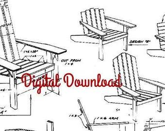 Adirondack Chair Plan/Blueprint, Patio Deck, DIY Outdoor Furniture, Classic Vintage 1960's, Instant PDF, Digital Download