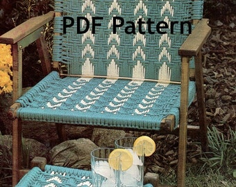 Hippie Macramé Chair and Footstool, Vintage 1980's Pattern, Digital Download, PDF Instant