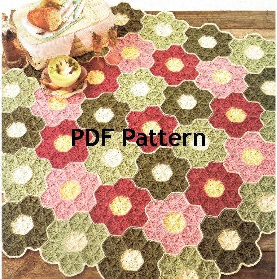 Granny Square Hexagon Afghan Pattern Flower Garden Crochet Etsy