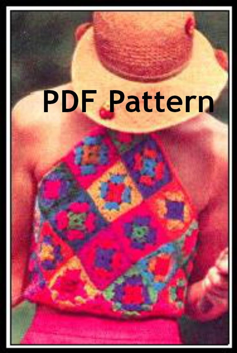 Halter Top Granny Square Crochet Pattern Crop Top Vintage image 0