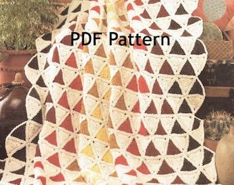 Granny Square Triangle Afghan, Vintage 1987 Crochet Pattern, Digital Download, Instant PDF