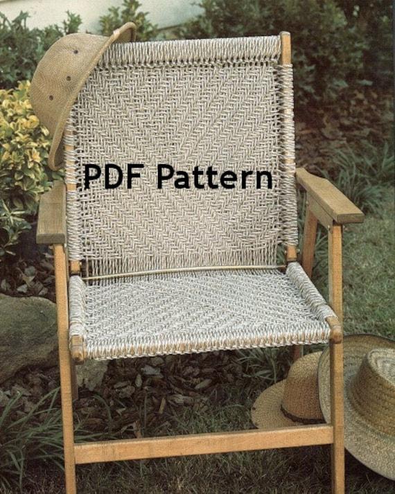 Macrame Chair Pattern Vintage 1980 S Herringbone Design Etsy