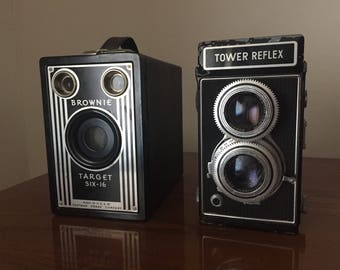 Lot Of two Vintage Cameras Tower Reflex And Kodak Brownie Target Six-16