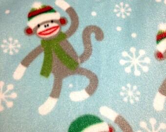 Sock Monkey Christmas Themed Blanket