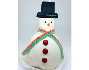 Snowman Caramel Apples. Christmas caramel apples. Disney treats. Winter treats. Mickey party supplies. Kids halloween party. Minnie