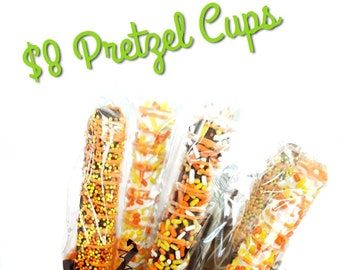Halloween chocolate covered pretzels gift. halloween pretzels. chocolate treats. halloween treats. halloween party. halloween party favors