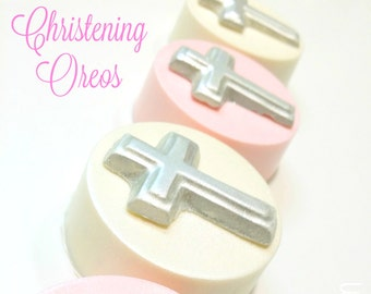 Christening oreos. Christening favors. Baptism treats. Christening treats. Cross favors. Chocolate covered oreos. Chocolate treats. Pink