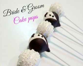 Bride and Groom cake pops. Wedding favors. Bride cake pops. Groom cake pops. Wedding cake pops. Bridal shower favors. Bridal cake pops.