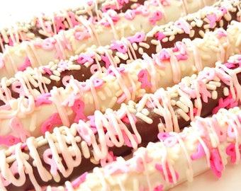 Breast cancer awareness pretzels. Pink ribbon pretzels. breast cancer pretzels. breast cancer treats. breast cancer awareness. Pink pretzels