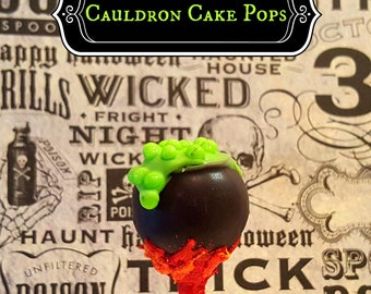 HALLOWEEN cake pops. Cauldron cake pops. Pumpkin cake pops. Halloween cake pops. Halloween treats. Halloween goodies. Halloween party. witch