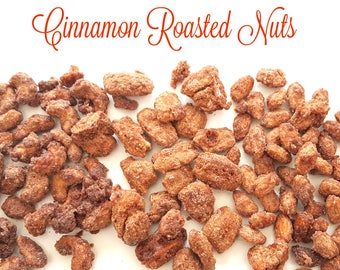 Cinnamon roasted nuts. Bavarian style nuts. roasted nuts. cinnamon roasted cashews. cinnamon roasted almonds. fall treats. fall favors