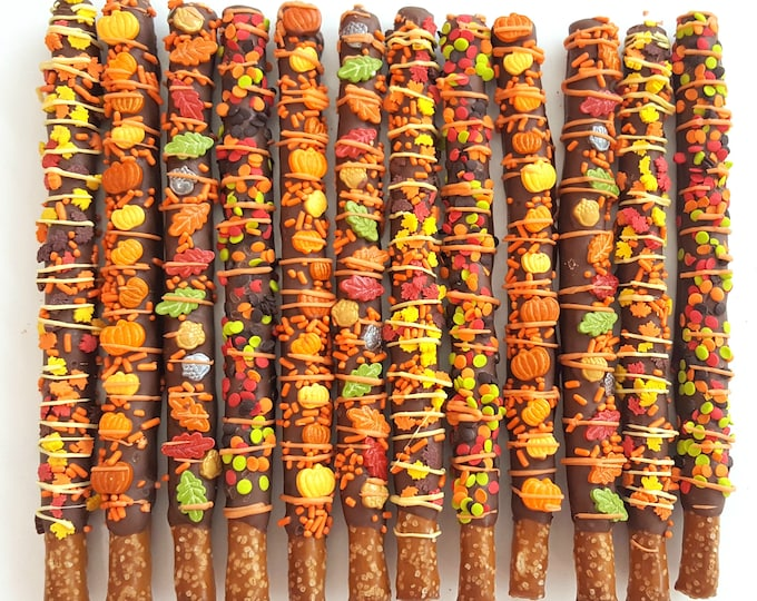 Featured listing image: AUTUMN chocolate covered pretzels