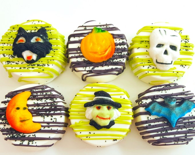 Featured listing image: Chocolate covered Halloween oreos. Halloween oreos. Halloween oreos. witch oreos. halloween treats. Halloween treats. candy. halloween party