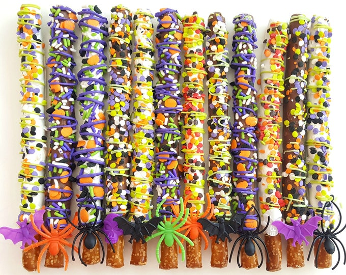 Featured listing image: SPOOKY Mix chocolate covered pretzels. halloween pretzels. chocolate treats. halloween treats. halloween party. halloween party favors.