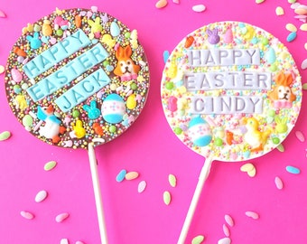 Easter personalized chocolate lollipop. Easter lollipop. easter treats. easter basket stuffers. easter gifts. custom easter lollipops.