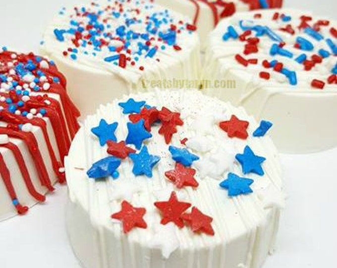 Featured listing image: Patriotic Oreos. 4th of july treats. Patriotic treats. Patriotic party. 4th of july party. Patriotic favors. Support our troops. Patriotic