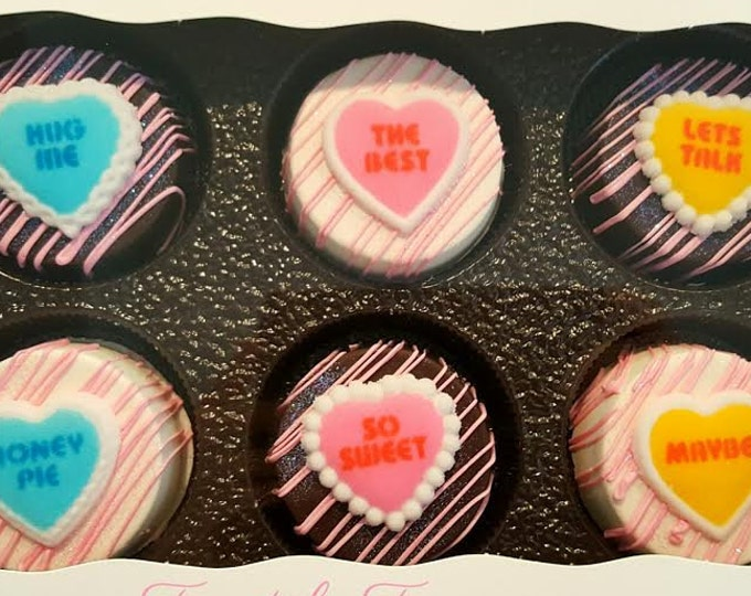 Featured listing image: Valentine's day chocolate covered oreo gift set. Valentine oreo. Valentine's day. chocolate. oreo. Valentine's day treat. Conversation heart