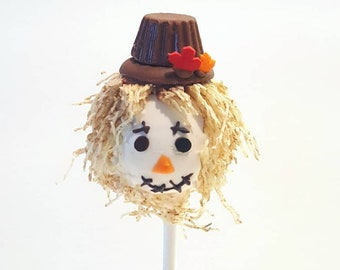 Scarecrow cake pops. Fall cake pops. Autumn treats. Foliage cake pops. Thanksgiving treats. Thanksgiving cake pops. Thanksgiving favors