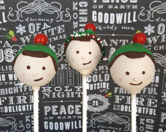 Elf cake pops. Stocking treats. Christmas treat. Christmas cake pop. Christmas party decor. Tree pop. Snow globe. Reindeer cake pops