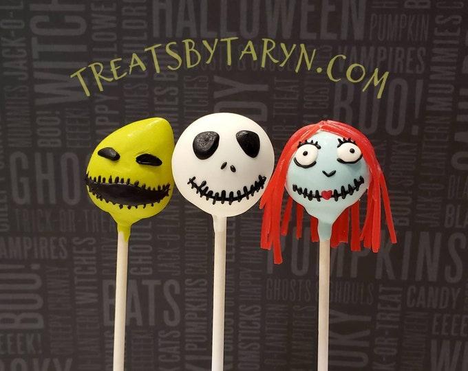 Featured listing image: Jack Skeleton cake pops. Jack cake pop. Nightmare before christmas. Halloween cake pop. Halloween treat. Halloween goodies. Halloween party.