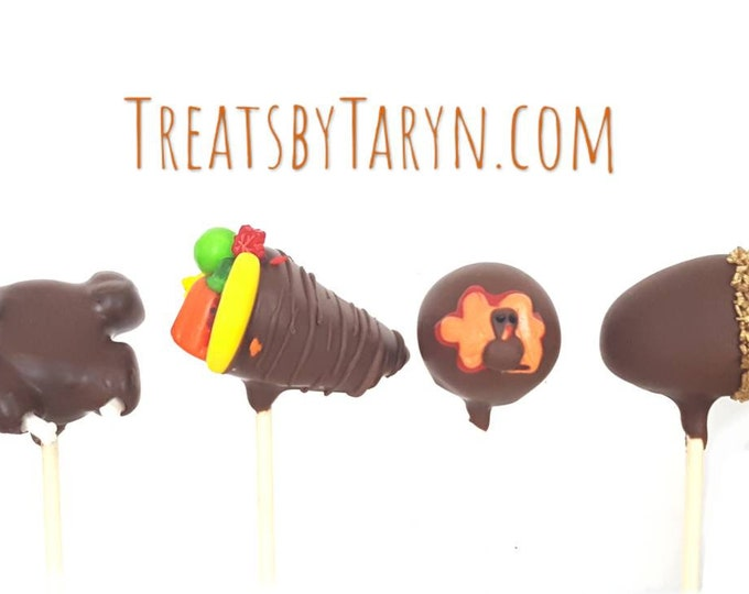 Featured listing image: Thanksgiving cake pops. Turkey cake pops. Thanksgiving treats. Thanksgiving cake pops. Thanksgiving pops. Thanksgiving gift. Acorn cake pop