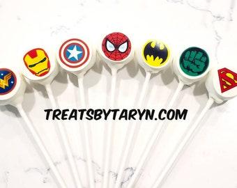 Superherocake pops. Avengers cake pops. Superhero treats. Superhero cake pops. Superhero party decor. Superhero goodies. Superhero party