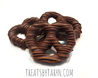 Gourmet Chocolate covered pretzels. Caramel pretzels. Chocolate covered pretzels. Pretzels. Dipped pretzels. Toffee topped pretzels.