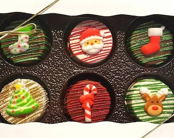 Christmas chocolate covered Oreo gift set. Christmas oreos. Christmas. Christmas treats. Santa treats.  treats. Stocking stuffers