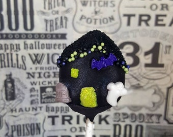 Haunted house cake pops. Halloween cat cake pop. halloween. Halloween cake pop. Halloween treat. Halloween goodies. Halloween party.