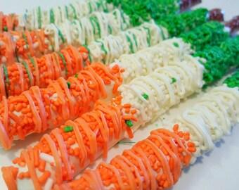 St Patrick's Day pretzels. St pattys day. St patricks treats. Green pretzels. Irish flag. Gold pretzels. St Patrick;s green pretzels