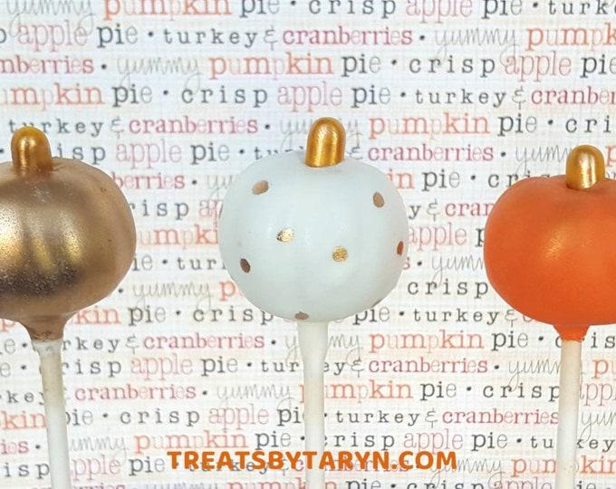 Featured listing image: Pumpkin cake pops. Pumpkin cake pop. Pumpkin cake pops. Halloween cake pops. Halloween treats. Halloween goodies. Little pumpkin cake pops