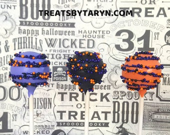 HALLOWEEN cake pops. Pumpkin cake pops. Halloween treats. Halloween cake pops. Halloween party decor. Halloween goodies. Halloween party