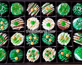 Mini St Patrick's daychocolate covered Oreo gift set. St patrick's oreos. St patrick's day treats. St patrick's gifts. Irish favors.