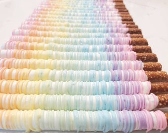 Ombre Chocolate Covered Pretzels. Ombre treats. Unicorn pretzels.  Unicorn treats. Pastel pretzels. Pastel treats