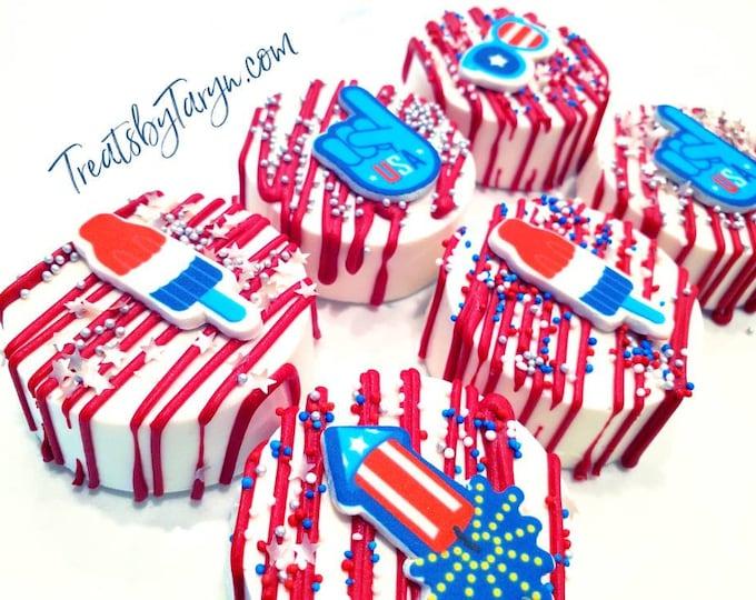 Patriotic Oreos. 4th of july treats. Patriotic treats. Patriotic party. 4th of july party. Patriotic favors. Support our troops. Patriotic