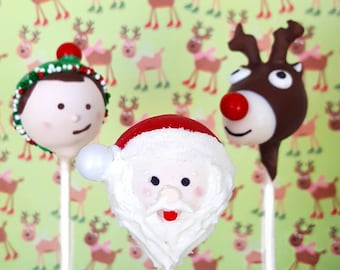 Santa & friends cake pops. Stocking treats. Christmas treat. Christmas cake pop. Christmas party decor. Tree pop. Snow globe. Gingerbread
