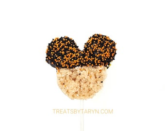 Halloween Mickey Rice krispie treats. Disney treats. Mickey rice krispie treats. Halloween treats. Minnie rice krispy treats. Disney