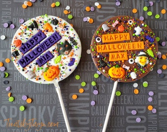 Halloween personalized chocolate lollipop. Halloween lollipop. Hallow treats. Halloween treats. Halloween gifts. custom Halloween lollipops.
