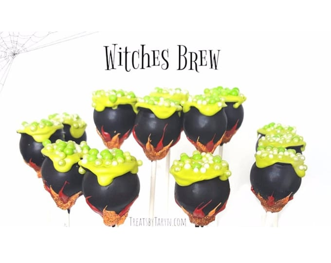 Featured listing image: HALLOWEEN cake pops. Cauldron cake pops. Pumpkin cake pops. Halloween cake pops. Halloween treats. Halloween goodies. Halloween party. witch