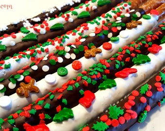 CHRISTMAS Chocolate Covered Pretzels. christmas treats. christmas pretzels. christmas gifts. xmas pretzels. xmas treats. xmas favors