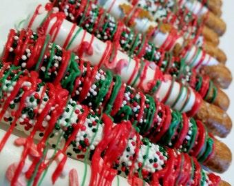 CHRISTMAS Chocolate Covered Pretzels