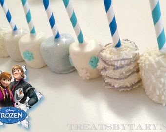 FROZEN inspired chocolate covered marshmallows
