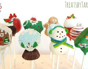 Christmas variety cake pops. Stocking treats. Christmas treats. Christmas cake pop. Christmas party decor. Tree pop. Snow globe. Gingerbread