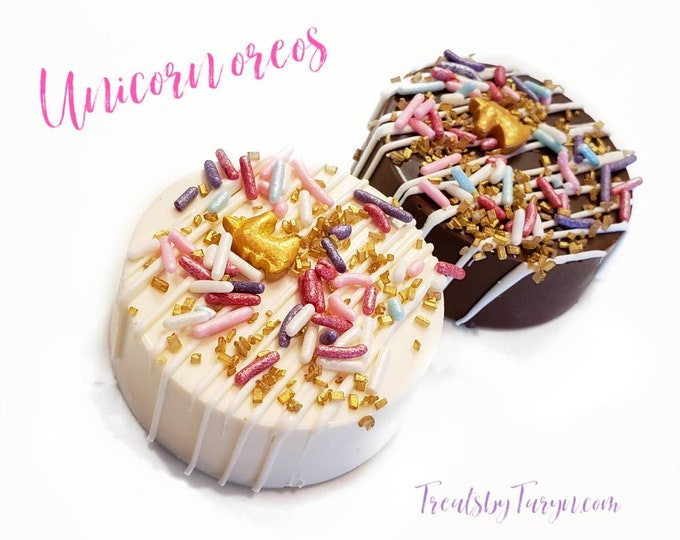 Unicorn oreos. Unicorn favors. twinkle treats. Chocolate covered oreos. Chocolate treats. twinkle twinkle little star. Uni party. Uni decor