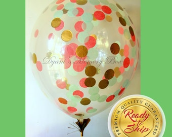 Set of 6 Clear Confetti-Filled Balloons /Mint, Coral Pink and Gold Confetti Balloons / Clear Biodegradable Latex Balloons