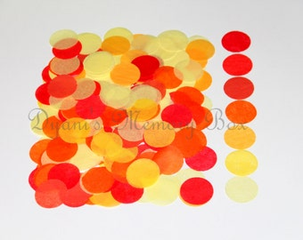 "Fall Orange Red Yellow Hues 3000 / 1500 Hand-Cut 1"" Tissue dots tossing Confetti for Weddings/Flower Girl Photo Prop"
