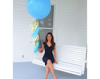 "36"" Round Latex Balloon with Tassel Tail / Giant Latex Balloon / Birthday Balloons / Wedding Balloons / 3 ft Biodegradable Balloon"